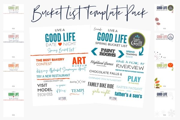 Bucket List Template Pack
