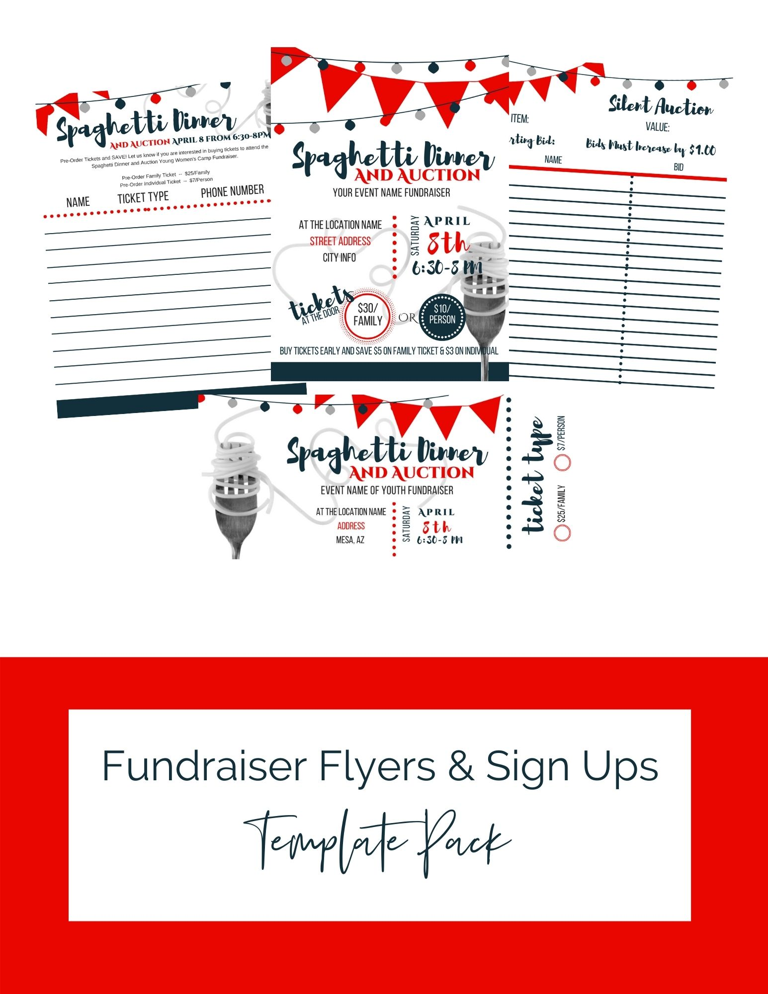 Spaghetti Dinner and Auction Fundraiser Flyers & Sign Ups Printables